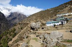 namche bazar - capital of sherpas ,sagarmatha region,nepal,asia - stock photo