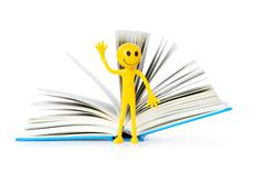 Education concept - books and smilie on white Stock Photos