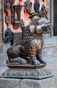 lion statue at pattan,kathmandu valley, nepal,asia,east - stock photo