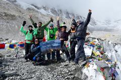 Hikers finishing trek to first everest base camp  in everest region, nepal Stock Photos