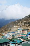 namche bazaar village view - capital of sherpa people ,sagarmatha  park - stock photo