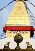 Buddha eyes of bodhnath stupa and wheel of dharma,kathmandu,nepal,asia Stock Photos