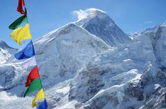 Summit of mount everest or chomolungma - highest mountain in the world Stock Photos