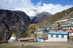 mountains around capital of sherpas - namche bazar, nepal, himalayas, asia - stock photo