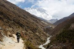 Way to south everest base camp in himalayas,nepal,one of the most popular tre Stock Photos