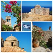 Collage of famous greek landmarks Stock Photos