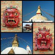 Collage of kathmandu landmarks , nepal, travel design Stock Photos