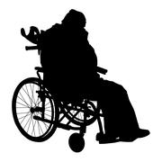 Stock Illustration of one handicapped man in wheelchair silhouette. vector illustration.