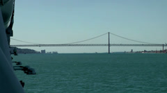 Europe Portugal Lisbon riverside 064 moving in direction of 25th of April Bridge Stock Footage