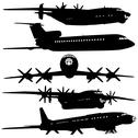 Stock Illustration of collection of different airplane silhouettes.