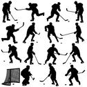 Stock Illustration of set of silhouettes of hockey player. isolated on white. illustrations.