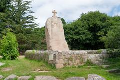 menhir of saint-uzec - stock photo