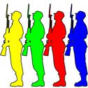 Stock Illustration of silhouette soldiers during a military parade. vector illustration.