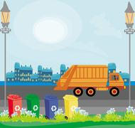 segregation of garbage in the city - stock illustration