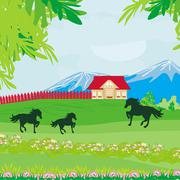 Horses grazing in a pasture with mountains Stock Illustration