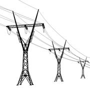 Silhouette of high voltage power lines. vector  illustration. Stock Illustration