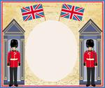 Stock Illustration of abstract background with flag england and beefeater soldier