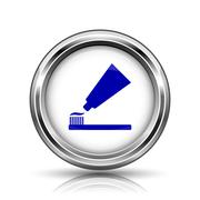 Tooth paste and brush icon Stock Illustration