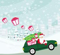 santa claus driving car with christmas gifts - stock illustration