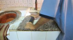 Dubai Pakistani Indian Cuisine Naan bread Platter making restaurant UAE Stock Footage