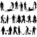Stock Illustration of set of black silhouettes of men and women with shovels and buckets. vector il
