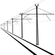 railroad overhead lines. contact wire. vector illustration. - stock illustration