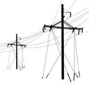 silhouette of high voltage power lines. vector  illustration. - stock illustration