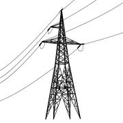 Silhouette of high voltage power lines. Stock Illustration