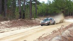 Subaru Rally Car Turning Stock Footage