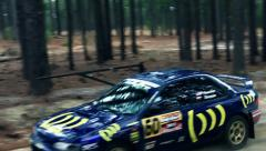 Subaru Rally Car Turning in Forest Stock Footage