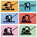 Stock Illustration of collection flat icons with long shadow. agricultural vehicles harvesting comb