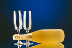 Champagne against color gradient background - stock photo