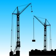 Stock Illustration of silhouette of two cranes working on the building. vector illustration.
