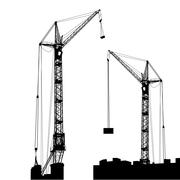 Stock Illustration of silhouette of two cranes working on the building