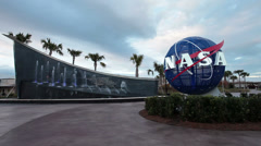 NASA Kennedy Space Center memorial fountain HD Stock Footage