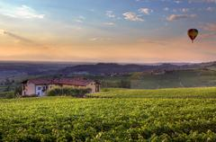 Sunset in piedmont. northern italy. Stock Photos