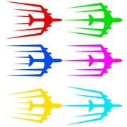 flying airplane  stylized vector illustration.  airliner, jet. - stock illustration