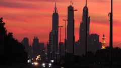 Dubai Metropolis Skyscrapers high-rise building at dusk UAE Stock Footage