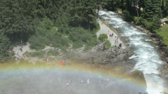 Rainbow at Krimml Waterfalls. (Austria) Stock Footage