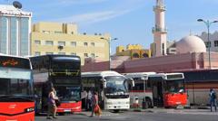 Dubai Blu Dubai old town Ghubaiba Bus station and Taxi stand  UAE Stock Footage
