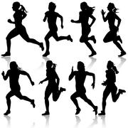 Set of silhouettes. runners on sprint, women. vector illustration. Stock Illustration