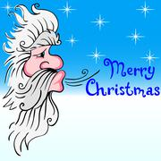 santa claus blowing wind - stock illustration