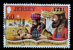 jersey - circa 1994 : postage stamp printed in jersey shows the three kings,  - stock photo