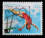 Stock Photo of australia - circa 1991 : postage stamp printed in australia shows diving, cir