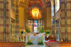 Catholic church interior view. alba, italy. Stock Photos