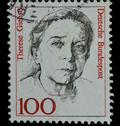 Stock Photo of germany postage stamp shows a woman portrait (1988)