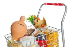 shopping cart full with money box and food products - stock photo