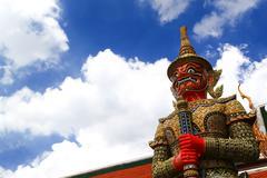 demon guardian wat phra kaew bangkok - stock photo