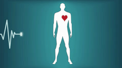 Heartbeat man on a blue background Stock Footage