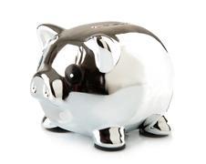 Piggy in chrome Stock Photos